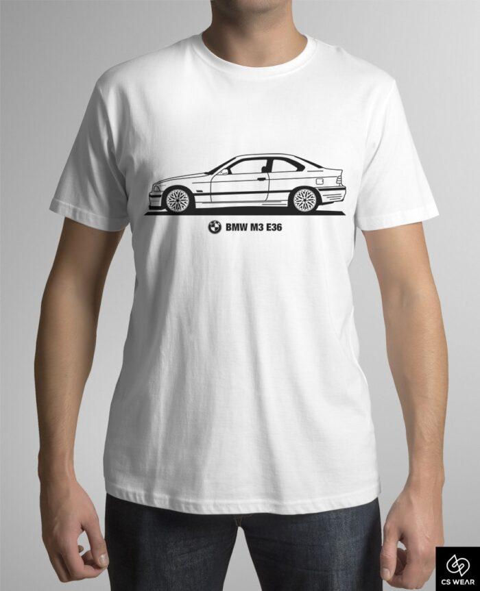 bmw-m3-e36-coupe-koszulka-biala
